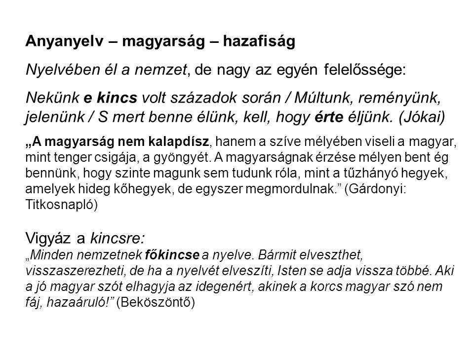 Anyanyelv – magyarság – hazafiság Nyelvében él a nemzet, de nagy az egyén felelőssége: Nekünk e kincs volt századok során / Múltunk, reményünk, jelenü