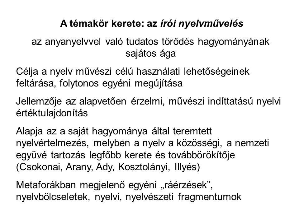 A témakör kerete: az írói nyelvművelés az anyanyelvvel való tudatos törődés hagyományának sajátos ága Célja a nyelv művészi célú használati lehetősége