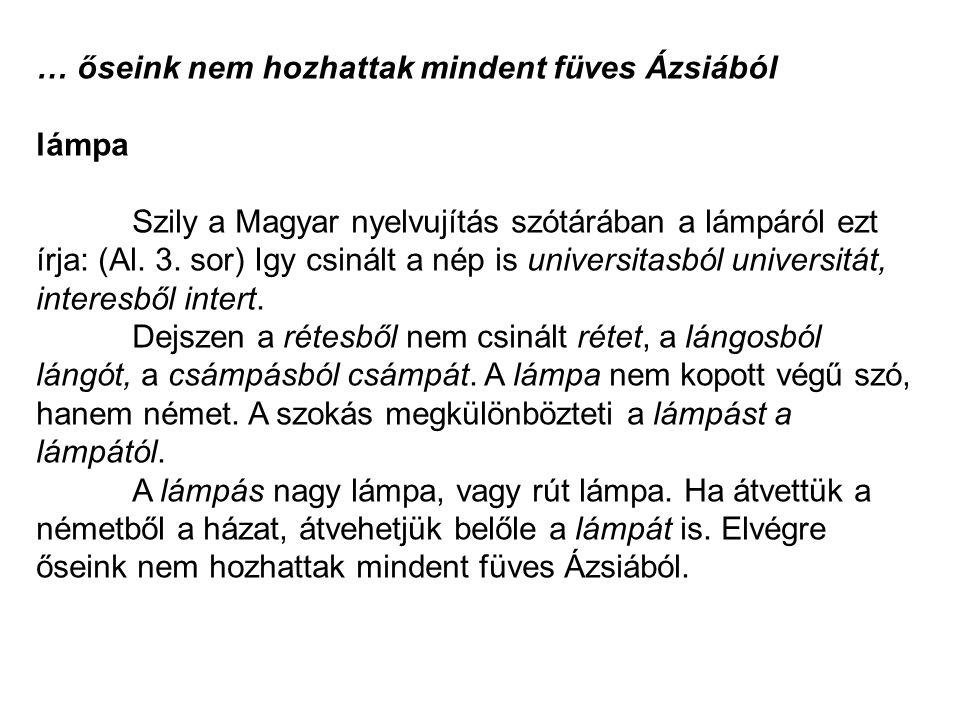 … őseink nem hozhattak mindent füves Ázsiából lámpa Szily a Magyar nyelvujítás szótárában a lámpáról ezt írja: (Al. 3. sor) Igy csinált a nép is unive