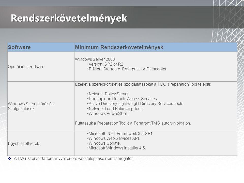 Rendszerkövetelmények SoftwareMinimum Rendszerkövetelmények Operációs rendszer Windows Server 2008 •Version: SP2 or R2 •Edition: Standard, Enterprise or Datacenter Windows Szerepkörök és Szolgáltatások Ezeket a szerepköröket és szolgáltatásokat a TMG Preparation Tool telepíti: •Network Policy Server.