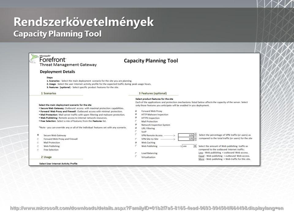 Rendszerkövetelmények Capacity Planning Tool http://www.microsoft.com/downloads/details.aspx?FamilyID=01b2f7a5-8165-4ead-9693-994504f66449&displaylang=en