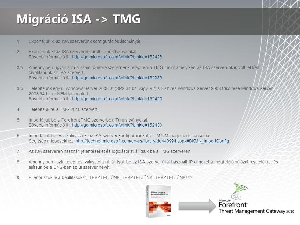 1.Exportáljuk ki az ISA szerverünk konfigurációs állományát.