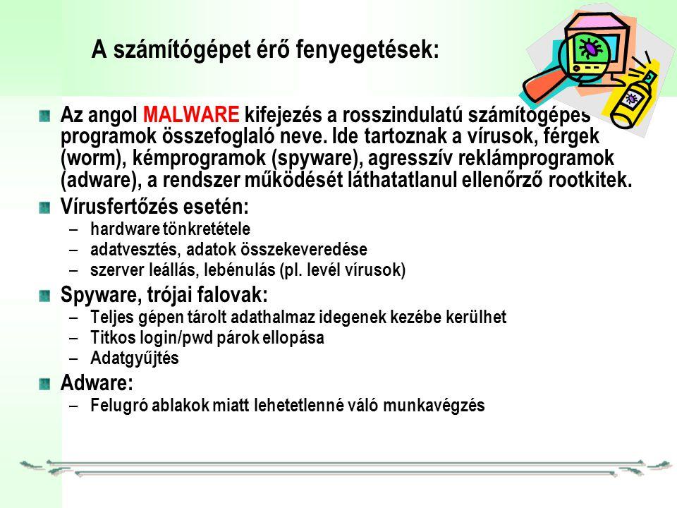 A számítógépet érő fenyegetések: Az angol MALWARE kifejezés a rosszindulatú számítógépes programok összefoglaló neve.