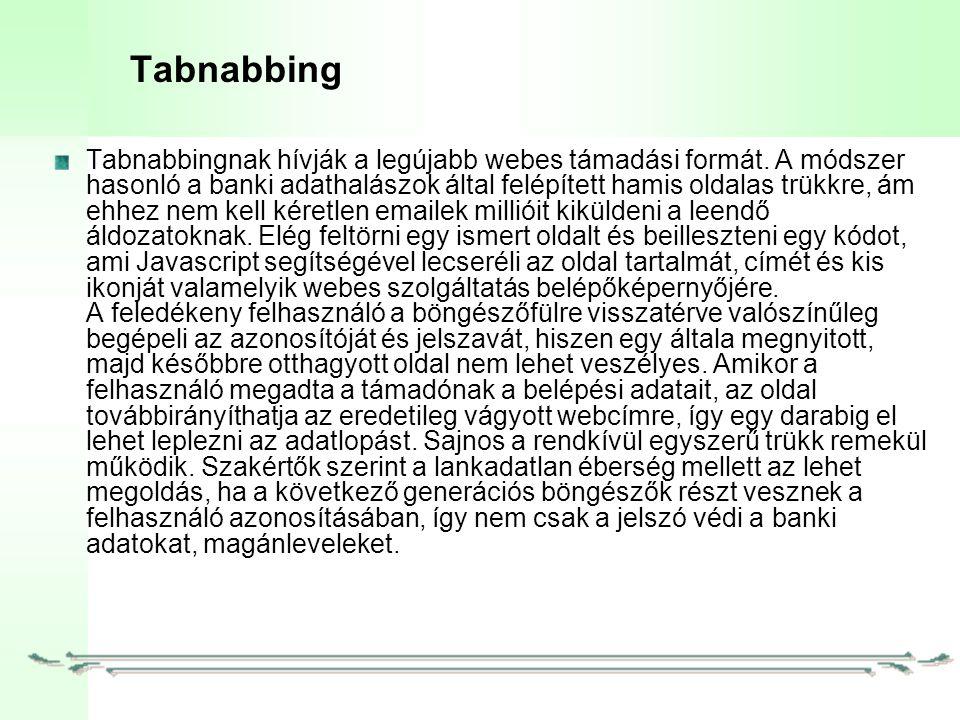 Tabnabbing Tabnabbingnak hívják a legújabb webes támadási formát.