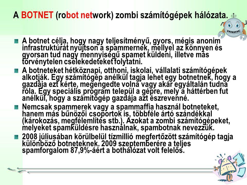 A BOTNET (robot network) zombi számítógépek hálózata.
