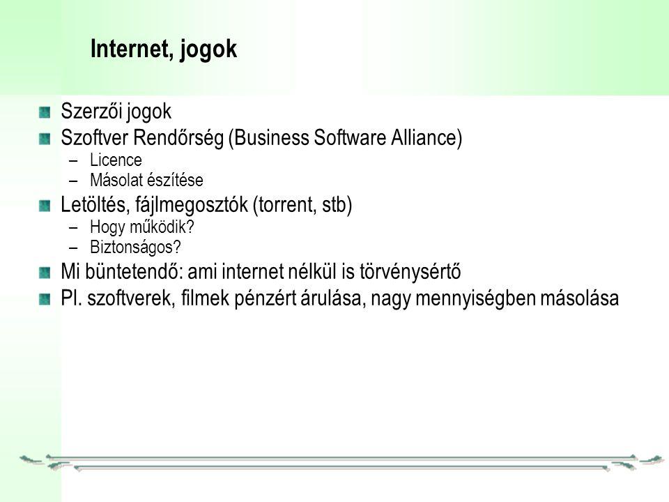 Internet, jogok Szerzői jogok Szoftver Rendőrség (Business Software Alliance) –Licence –Másolat észítése Letöltés, fájlmegosztók (torrent, stb) –Hogy működik.