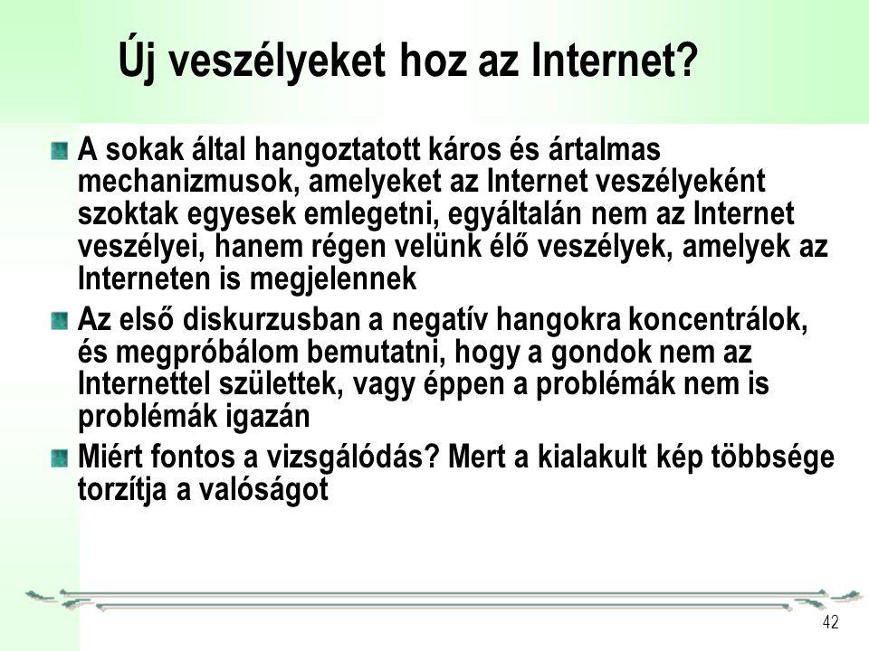 42 Új veszélyeket hoz az Internet.