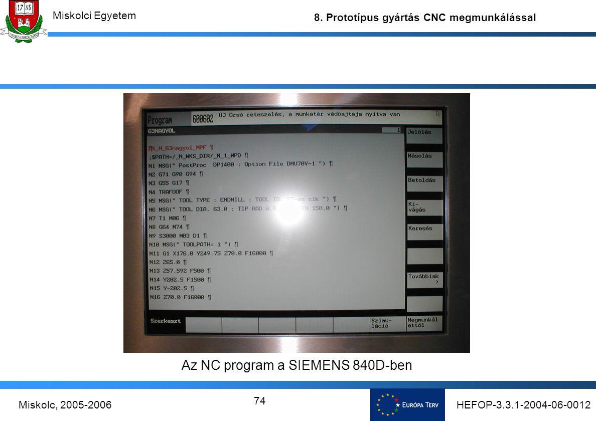 HEFOP-3.3.1-2004-06-0012Miskolc, 2005-2006 Miskolci Egyetem 8. Prototípus gyártás CNC megmunkálással 74 Az NC program a SIEMENS 840D-ben