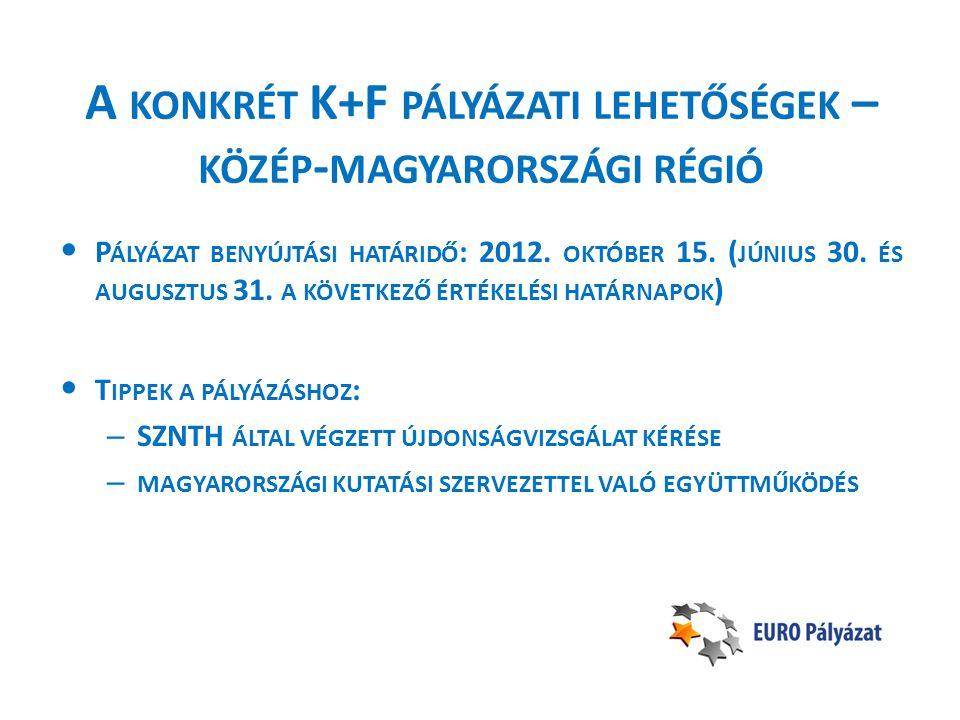 A KONKRÉT K+F PÁLYÁZATI LEHETŐSÉGEK – KÖZÉP - MAGYARORSZÁGI RÉGIÓ • P ÁLYÁZAT BENYÚJTÁSI HATÁRIDŐ : 2012.