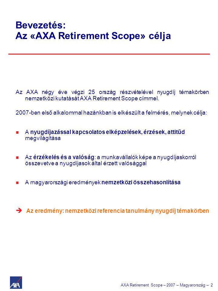 AXA Retirement Scope – 2007 – Magyarország – 2 Bevezetés: Az «AXA Retirement Scope» célja Az AXA négy éve végzi 25 ország részvételével nyugdíj témakö