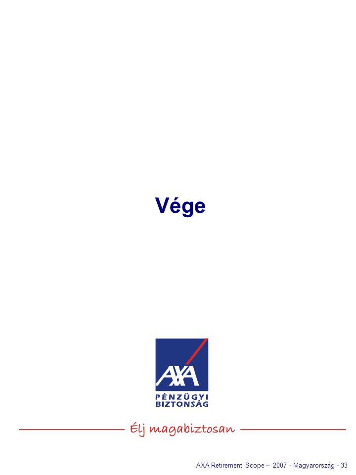 AXA Retirement Scope – 2007 - Magyarország - 33 Vége