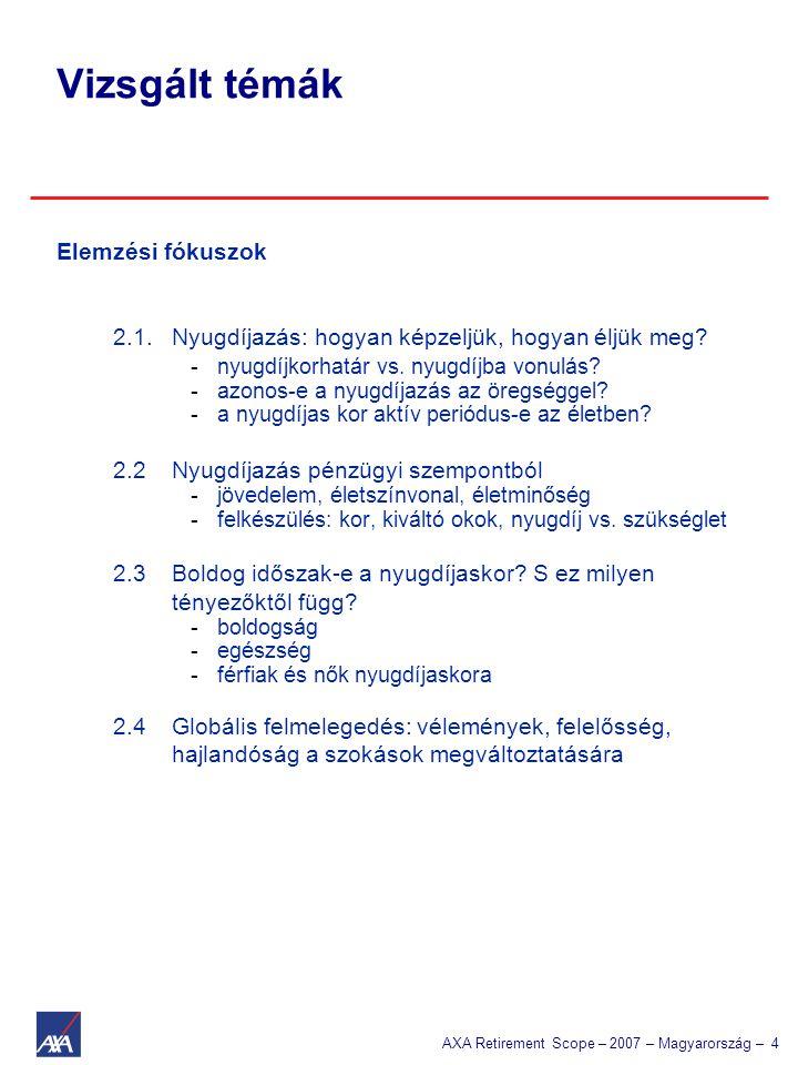 AXA Retirement Scope – 2007 – Magyarország – 4 Elemzési fókuszok 2.1.Nyugdíjazás: hogyan képzeljük, hogyan éljük meg? -nyugdíjkorhatár vs. nyugdíjba v