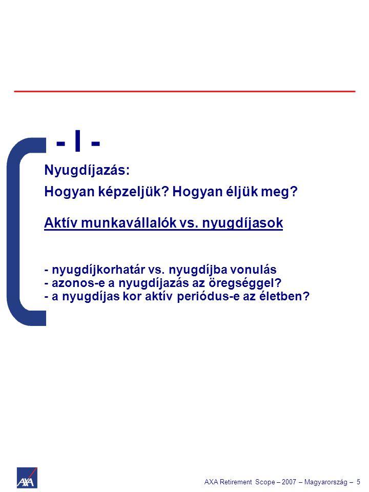AXA Retirement Scope – 2007 – Magyarország – 5 Nyugdíjazás: Hogyan képzeljük? Hogyan éljük meg? Aktív munkavállalók vs. nyugdíjasok - nyugdíjkorhatár