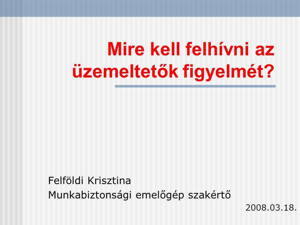 Mire kell felhívni az üzemeltetők figyelmét? Felföldi Krisztina Munkabiztonsági emelőgép szakértő 2008.03.18.