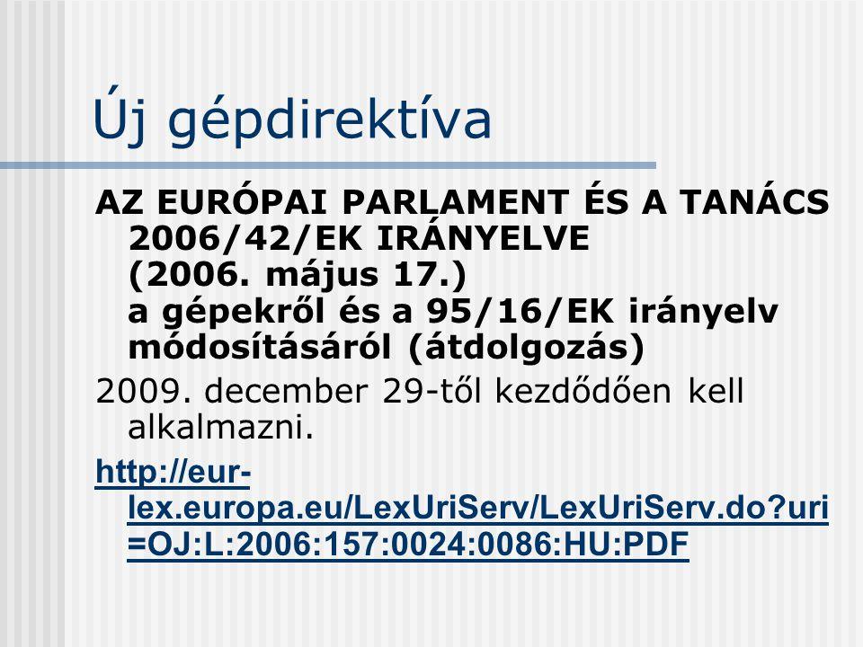 Új gépdirektíva AZ EURÓPAI PARLAMENT ÉS A TANÁCS 2006/42/EK IRÁNYELVE (2006. május 17.) a gépekről és a 95/16/EK irányelv módosításáról (átdolgozás) 2