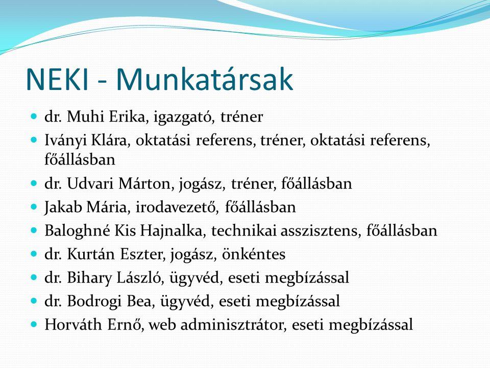 NEKI - Munkatársak  dr. Muhi Erika, igazgató, tréner  Iványi Klára, oktatási referens, tréner, oktatási referens, főállásban  dr. Udvari Márton, jo