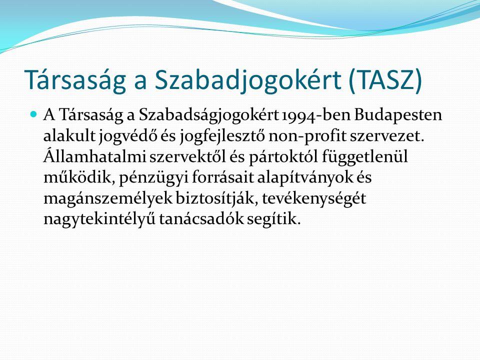Társaság a Szabadjogokért (TASZ)  A Társaság a Szabadságjogokért 1994-ben Budapesten alakult jogvédő és jogfejlesztő non-profit szervezet. Államhatal