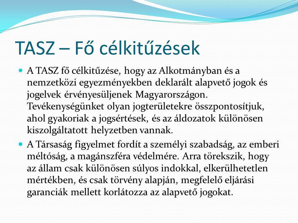 TASZ – Fő célkitűzések  A TASZ fő célkitűzése, hogy az Alkotmányban és a nemzetközi egyezményekben deklarált alapvető jogok és jogelvek érvényesüljen