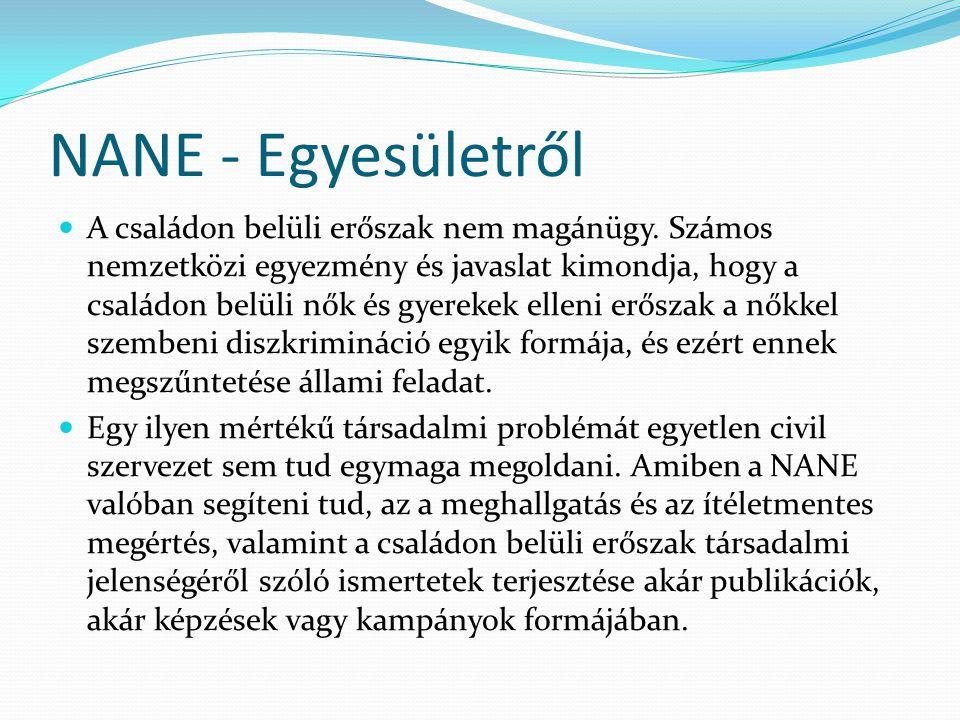 NANE - Egyesületről  A családon belüli erőszak nem magánügy. Számos nemzetközi egyezmény és javaslat kimondja, hogy a családon belüli nők és gyerekek