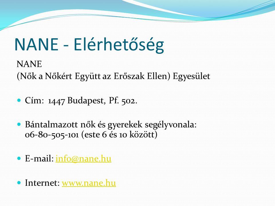 NANE - Elérhetőség NANE (Nők a Nőkért Együtt az Erőszak Ellen) Egyesület  Cím: 1447 Budapest, Pf. 502.  Bántalmazott nők és gyerekek segélyvonala: 0
