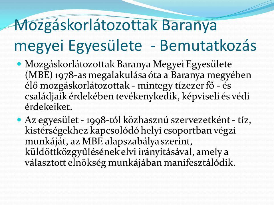 Mozgáskorlátozottak Baranya megyei Egyesülete - Bemutatkozás  Mozgáskorlátozottak Baranya Megyei Egyesülete (MBE) 1978-as megalakulása óta a Baranya