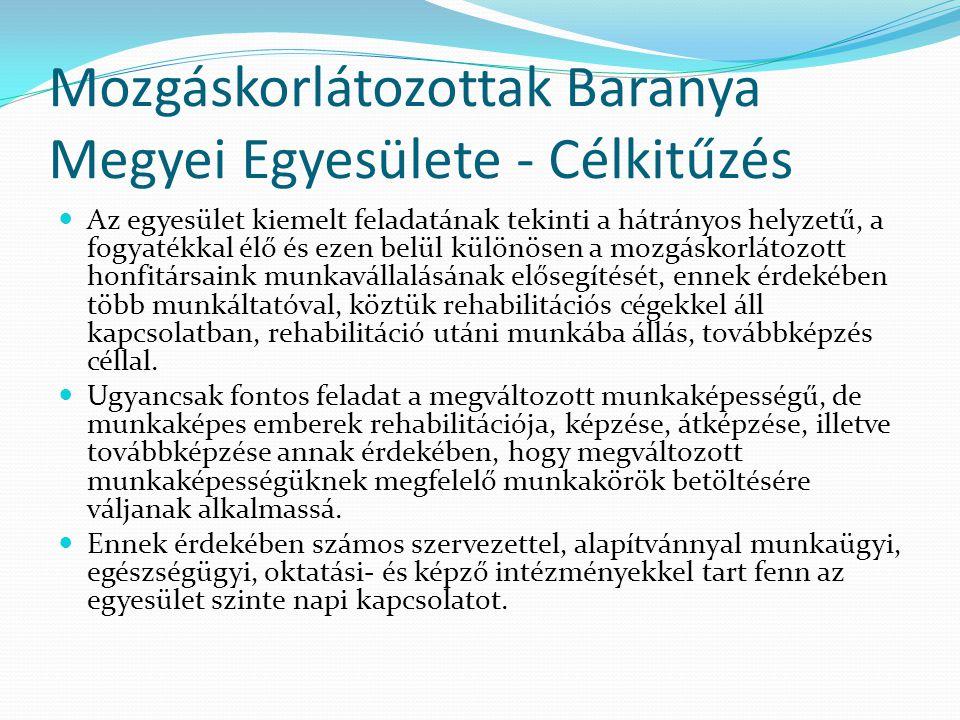 Mozgáskorlátozottak Baranya Megyei Egyesülete - Célkitűzés  Az egyesület kiemelt feladatának tekinti a hátrányos helyzetű, a fogyatékkal élő és ezen