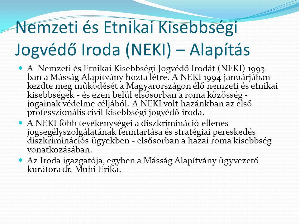 Nemzeti és Etnikai Kisebbségi Jogvédő Iroda (NEKI) – Alapítás  A Nemzeti és Etnikai Kisebbségi Jogvédő Irodát (NEKI) 1993- ban a Másság Alapítvány ho