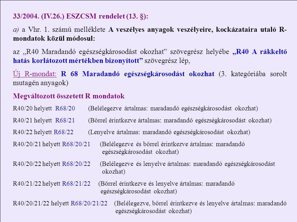 33/2004. (IV.26.) ESZCSM rendelet (13. §): a) a Vhr. 1. számú melléklete A veszélyes anyagok veszélyeire, kockázataira utaló R- mondatok közül módosul