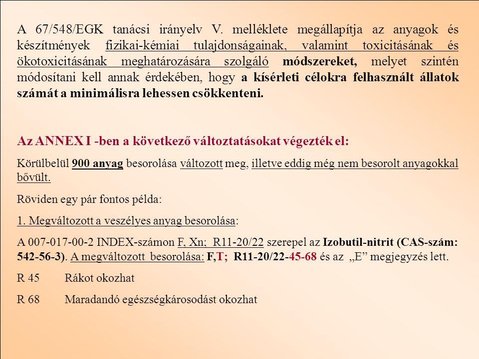 A 67/548/EGK tanácsi irányelv V.