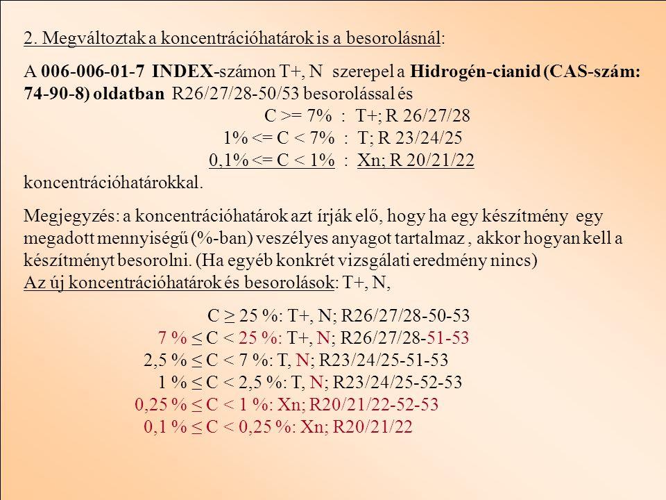 2. Megváltoztak a koncentrációhatárok is a besorolásnál: A 006-006-01-7 INDEX-számon T+, N szerepel a Hidrogén-cianid (CAS-szám: 74-90-8) oldatban R26