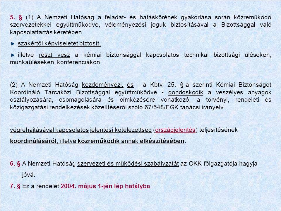 5. § (1) A Nemzeti Hatóság a feladat- és hatáskörének gyakorlása során közreműködő szervezetekkel együttműködve, véleményezési joguk biztosításával a