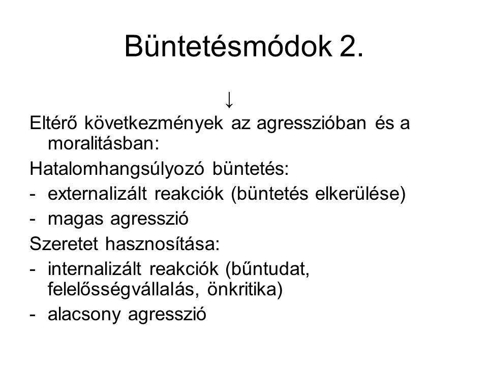 Büntetésmódok 2. ↓ Eltérő következmények az agresszióban és a moralitásban: Hatalomhangsúlyozó büntetés: -externalizált reakciók (büntetés elkerülése)