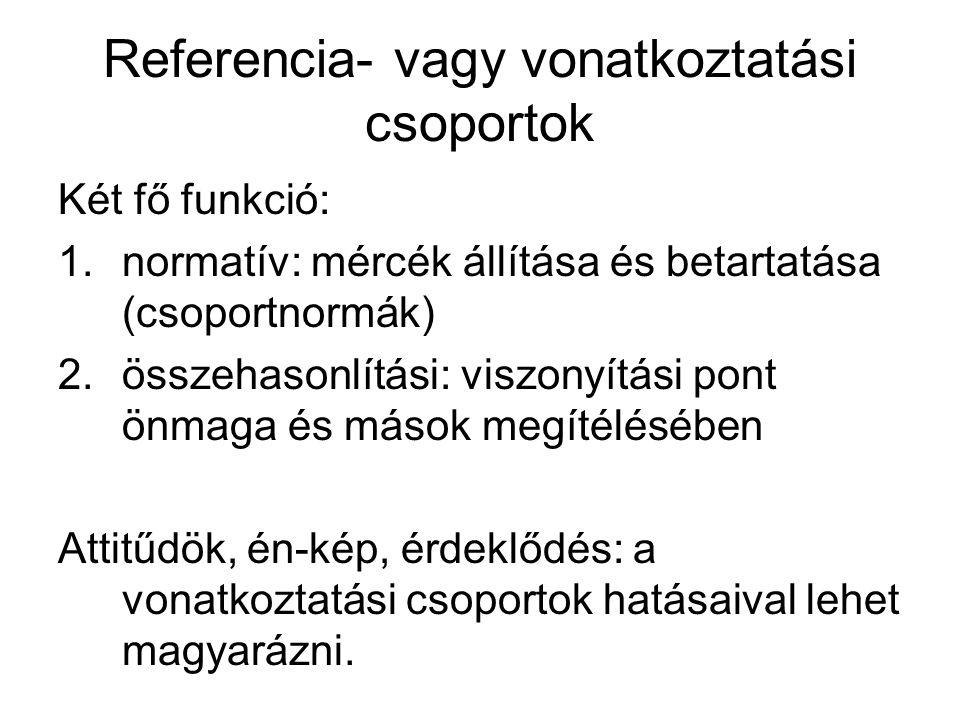 Referencia- vagy vonatkoztatási csoportok Két fő funkció: 1.normatív: mércék állítása és betartatása (csoportnormák) 2.összehasonlítási: viszonyítási