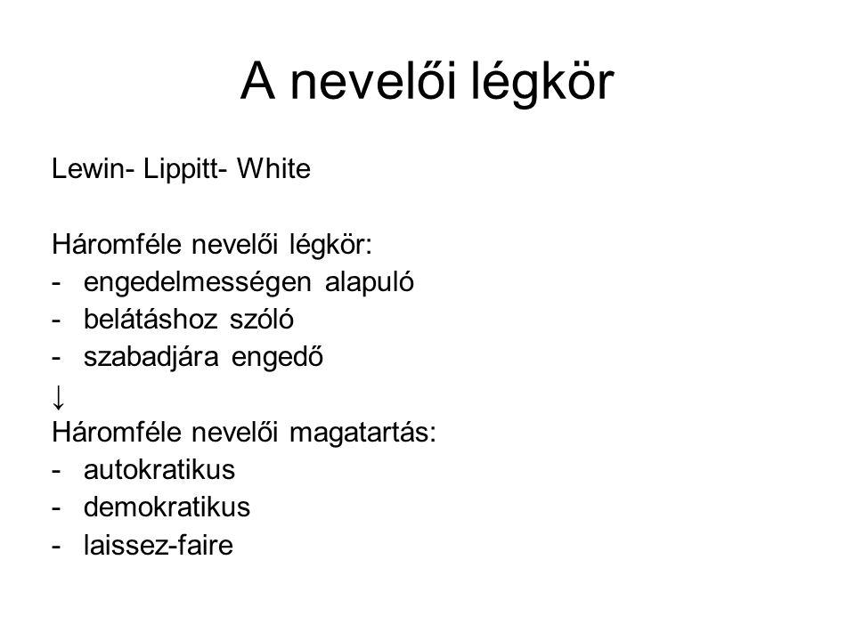 A nevelői légkör Lewin- Lippitt- White Háromféle nevelői légkör: -engedelmességen alapuló -belátáshoz szóló -szabadjára engedő ↓ Háromféle nevelői mag