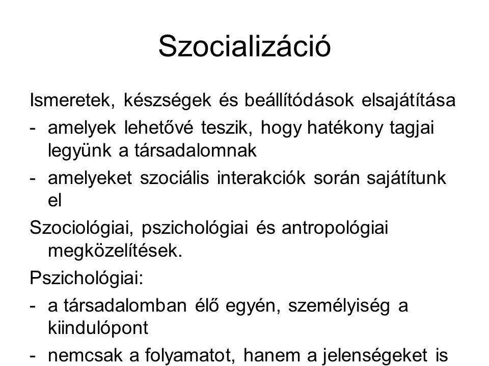 Szocializáció Ismeretek, készségek és beállítódások elsajátítása -amelyek lehetővé teszik, hogy hatékony tagjai legyünk a társadalomnak -amelyeket szociális interakciók során sajátítunk el Szociológiai, pszichológiai és antropológiai megközelítések.