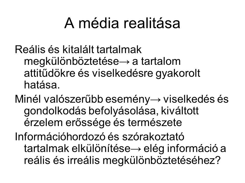 A média realitása Reális és kitalált tartalmak megkülönböztetése→ a tartalom attitűdökre és viselkedésre gyakorolt hatása. Minél valószerűbb esemény→