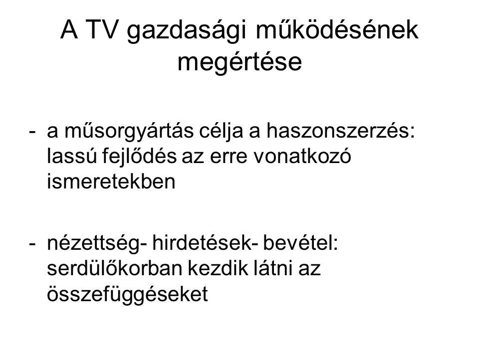 A TV gazdasági működésének megértése -a műsorgyártás célja a haszonszerzés: lassú fejlődés az erre vonatkozó ismeretekben -nézettség- hirdetések- bevétel: serdülőkorban kezdik látni az összefüggéseket