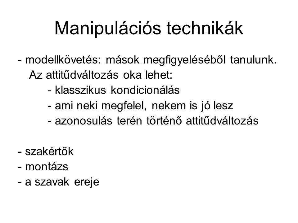 Manipulációs technikák - modellkövetés: mások megfigyeléséből tanulunk.
