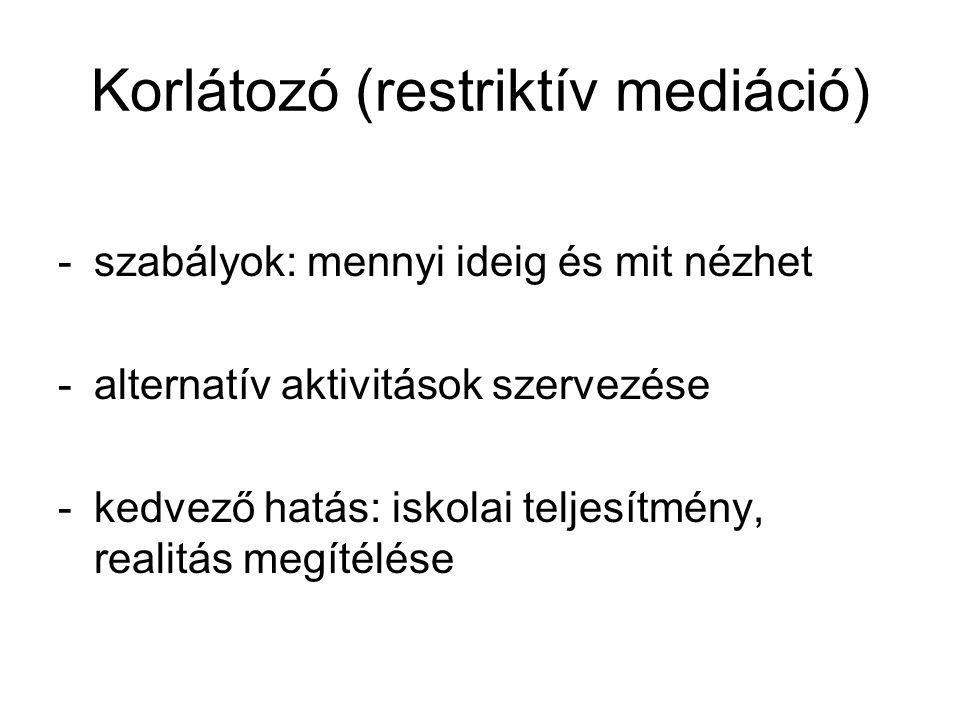 Korlátozó (restriktív mediáció) -szabályok: mennyi ideig és mit nézhet -alternatív aktivitások szervezése -kedvező hatás: iskolai teljesítmény, realit
