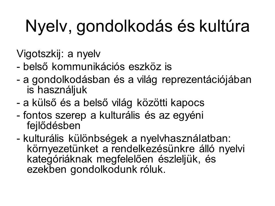 Nyelv, gondolkodás és kultúra Vigotszkij: a nyelv - belső kommunikációs eszköz is - a gondolkodásban és a világ reprezentációjában is használjuk - a k