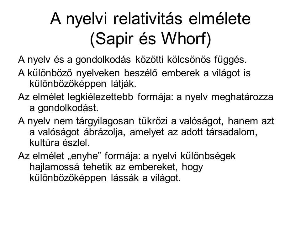 A nyelvi relativitás elmélete (Sapir és Whorf) A nyelv és a gondolkodás közötti kölcsönös függés. A különböző nyelveken beszélő emberek a világot is k