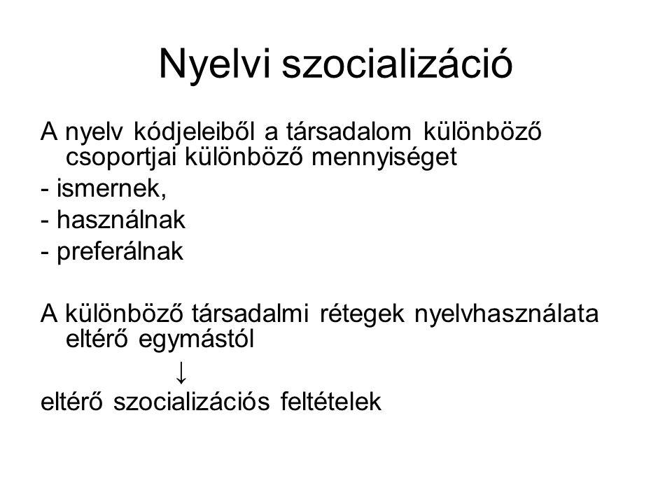 Nyelvi szocializáció A nyelv kódjeleiből a társadalom különböző csoportjai különböző mennyiséget - ismernek, - használnak - preferálnak A különböző társadalmi rétegek nyelvhasználata eltérő egymástól ↓ eltérő szocializációs feltételek