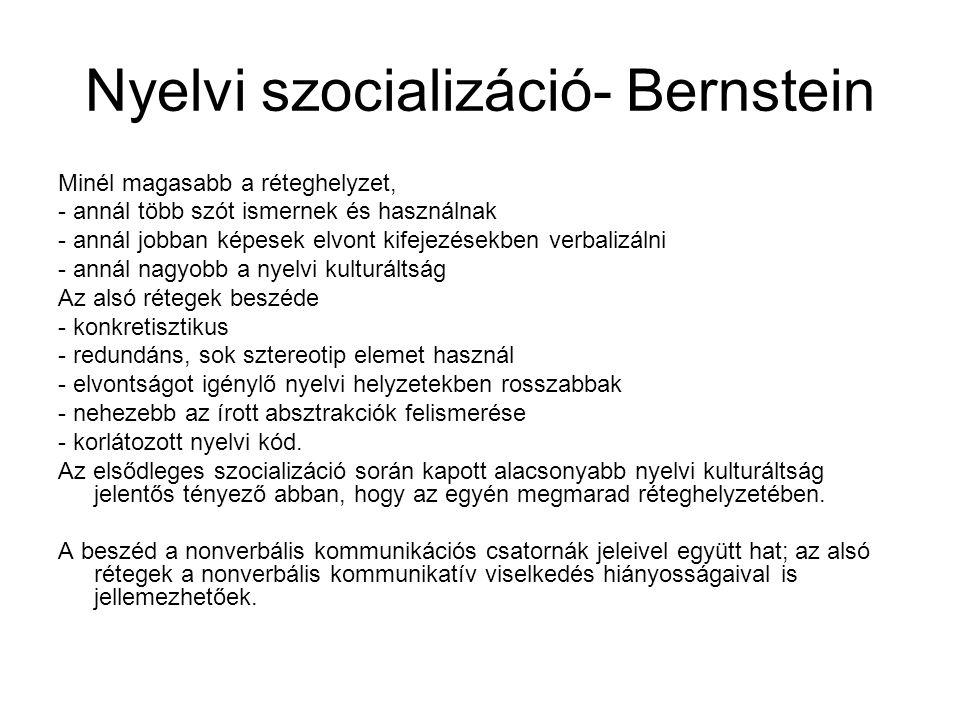 Nyelvi szocializáció- Bernstein Minél magasabb a réteghelyzet, - annál több szót ismernek és használnak - annál jobban képesek elvont kifejezésekben v