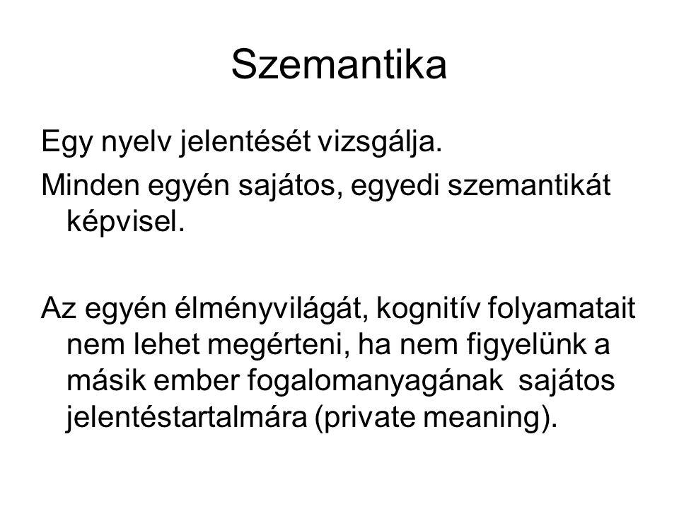 Szemantika Egy nyelv jelentését vizsgálja. Minden egyén sajátos, egyedi szemantikát képvisel. Az egyén élményvilágát, kognitív folyamatait nem lehet m