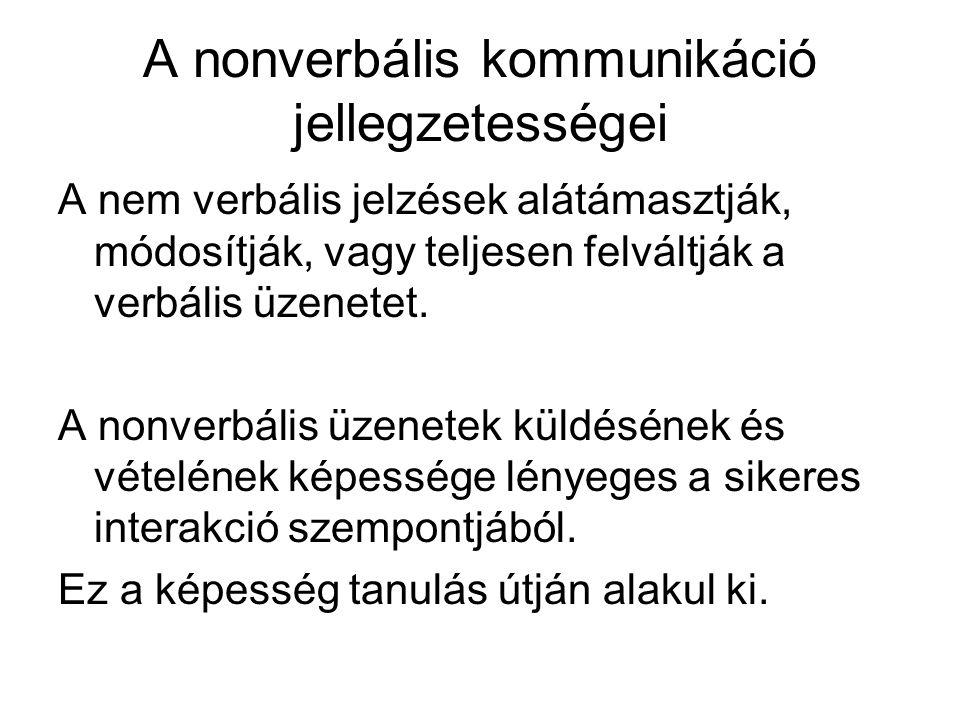 A nonverbális kommunikáció jellegzetességei A nem verbális jelzések alátámasztják, módosítják, vagy teljesen felváltják a verbális üzenetet.