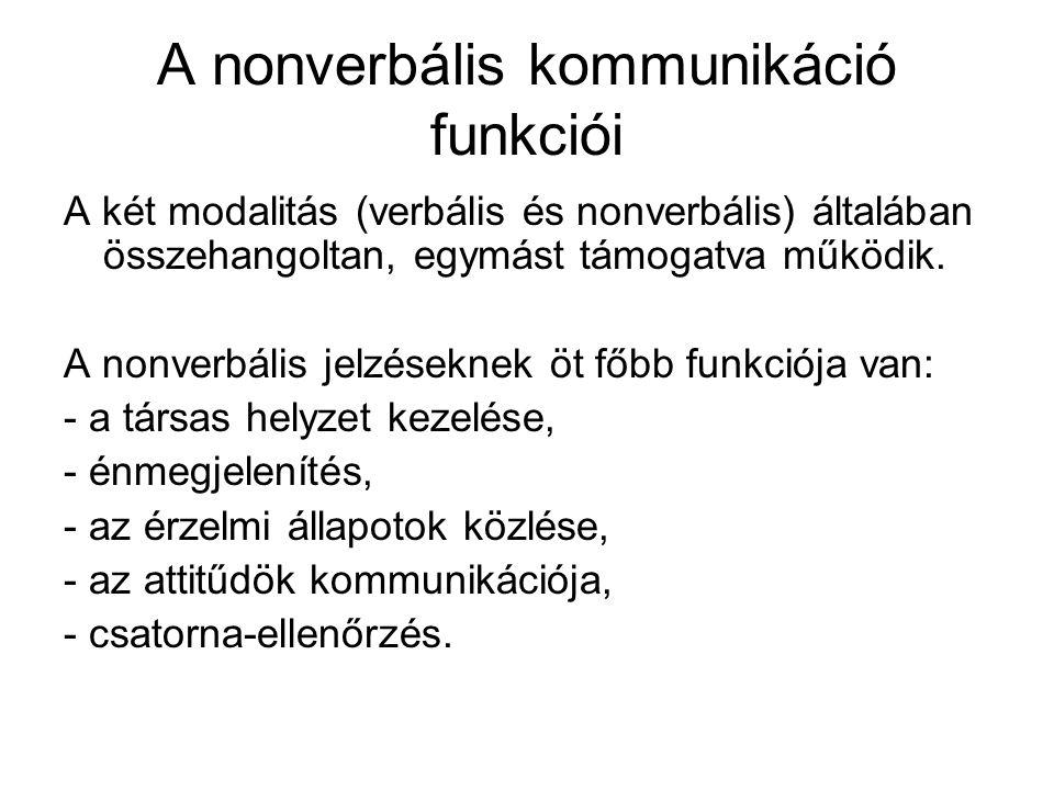A nonverbális kommunikáció funkciói A két modalitás (verbális és nonverbális) általában összehangoltan, egymást támogatva működik. A nonverbális jelzé