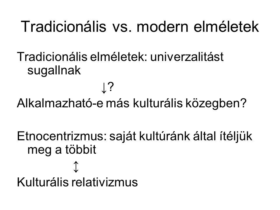 Tradicionális vs. modern elméletek Tradicionális elméletek: univerzalitást sugallnak ↓? Alkalmazható-e más kulturális közegben? Etnocentrizmus: saját