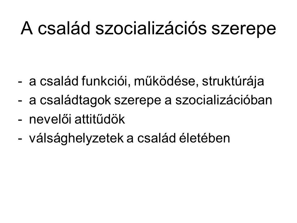 A család szocializációs szerepe -a család funkciói, működése, struktúrája -a családtagok szerepe a szocializációban -nevelői attitűdök -válsághelyzete