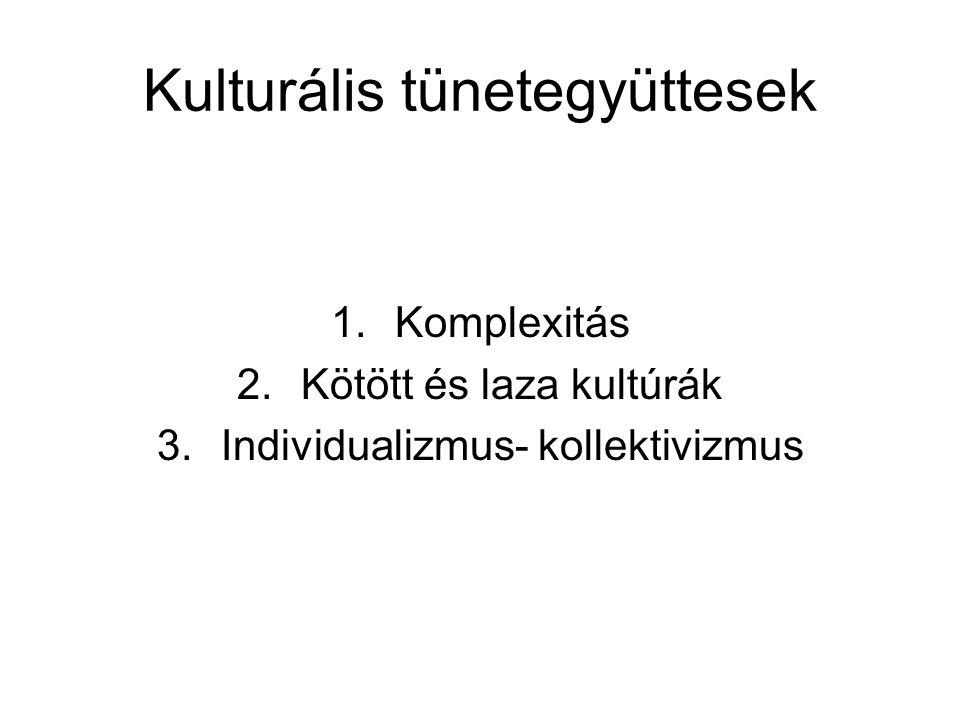 Kulturális tünetegyüttesek 1.Komplexitás 2.Kötött és laza kultúrák 3.Individualizmus- kollektivizmus