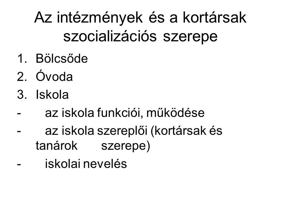 Az intézmények szerepe a szocializációban -Bölcsőde -Óvoda -Iskola